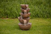 Alpine 5 Bowl Tiered Waterfall Fountain W/led Light 34 Inch Tall