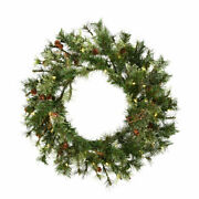 Vickerman 30 Mixed Country Pine Artificial Christmas Wreath With 50 Warm Whi...