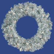 Vickerman 24 Silver Artificial Christmas Wreath With 50 Silver Lights