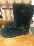Black Leather Uggs Harness Size 7 10'' Tall Fur Lined