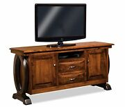 Amish Contemporary Saratoga Tv Stand Solid Wood Console Cabinet Storage 72