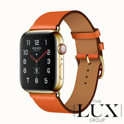 24k Gold Plated 44mm Apple Watch Series 6 Hermes With Feu Single Tour Gps+lte