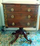 Atunning Antique Federal Georgian Empire Table Cabinet Paw Feet Flame Mahogany