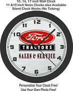 Ford Tractors Sales And Service Wall Clock-your Choice Red Or Blue-john Deere
