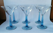 Bombay Sapphire Blue Squared And Twisted Stem Martini 6 Glasses Set