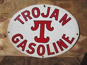 22x28 Oval Authentic Org. 1923 Trojan Gasoline And Oil Co. Porcelain Sign Mint