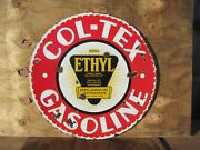 30 Round Authentic Org. 1920 Colorado Texas Ethyl Gas And Oil Co. Porcelain Sign