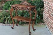 Antique French Server Dessert Table 2-tier Sideboard Console Sofa Table Oak
