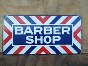 12x24 Authentic Org. Dsp 1920 Barber Shop Gas And Oil Co. Porcelain Sign Mint