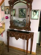 French Antique Rococo Style Mirror And Console / Union City Mirror And Table Co.