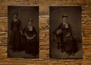 2 Fabulous Antique Tintype Photographs Student And Teacher W/ Book At Same Sitting