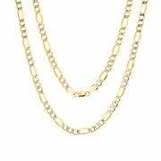 14k Yellow Gold Solid 7.5mm Mens Diamond Cut Pave Figaro Chain Necklace 20- 30