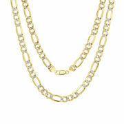 10k Yellow Gold Solid Mens 10mm Diamond Cut White Pave Figaro Chain Necklace 20