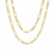 10k Yellow Gold Mens 8mm Diamond Cut White Pave Figaro Chain Necklace 24- 30