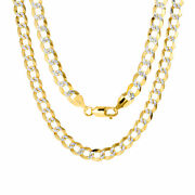 Solid 14k Yellow Gold 7mm Diamond Cut White Pave Curb Cuban Chain Necklace 24
