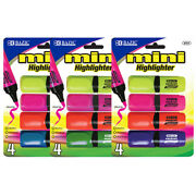 Bazic Mini Desk Style Fluorescent Highlighters 4/pack