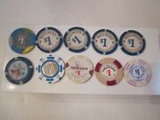 Vintage Lot Of 27 Casino Chips - All One Dollar Chips - Sc