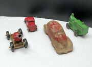 Vintage Old Composition Lot Of 4 Cast Toys Cannon, Tractor, Truck And Car