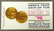Scarce 1962 Seattle Century 21 Worlds Fair 1 Coin Medal Token Mint On Card