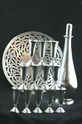 Redlich Sterling Decanter 12 Randahl Shot Glasses And Tray W/ Punched Design