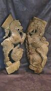 Pair Antique 17c- 18c Asian Incredible Wood Carved Temple Exotic Animals Figures