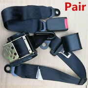 Pair 3 Point Retractable Vehicle Safety Seat Belt Shoulder Harness Strap Buckle