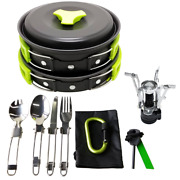Gold Armour 17 Pieces Camping Cookware Mess Kit Backpacking Gear And Hiking Bug