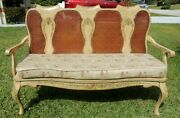 Large Antique/vtg Hand Painted Flower Cane And Wood Rooster Love Seat Settee Bench
