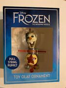 New Disney Frozen The Broadway Musical Toy Olaf Pull String Puppet Ornament Elsa