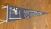 Vintage 1960s Baltimore Colts Nfl Full Size Pennant Horse Jumping Over Goalpost
