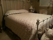 Vintage 1920s Ecru Popcorn Stitch Bedspread Hand Crochet 80x90 And Pillow Cover