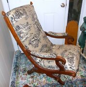 Antique Victorian Lounge Lolling Arm Chair French Toile Swan Arms Library