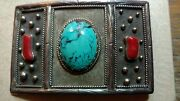 Rare Historic Signed Wally Stangland Sterling Silver Turquoise Coral Belt Buckle