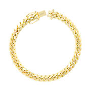 10k Yellow Gold Solid Mens 7mm Miami Cuban Link Chain Bracelet Safe Box Clasp 8
