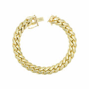 10k Yellow Gold Solid Mens 10mm Miami Cuban Link Chain Bracelet Box Clasp 8