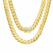 14k Yellow Gold Solid 8mm Mens Miami Cuban Chain Pendant Necklace Box Clasp 24