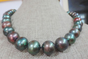 Huge 1812-14mm Natural South Sea Genuine Green Peacock Multic Pearl Necklace