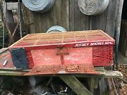 Primitive Wooden Bamboo Chicken Crate Carrier Box Cage Farm House Barn Red