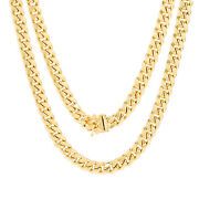 14k Yellow Gold Mens 7.5mm Real Miami Cuban Link Chain Pendant Necklace 20- 30
