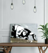 Banksy Snorting Policeman - Canvas/framed Wall Art Picture Print - Black And White