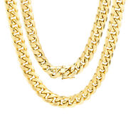 10k Yellow Gold Mens 9mm Miami Cuban Link Chain Pendant Necklace Box Clasp 22