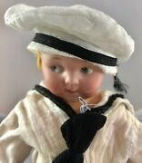 9.5 Antique German Bisque Head French Sailor Googly Doll Adorable 18015