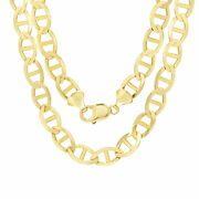 10k Yellow Gold Solid Mens 10.5mm Anchor Mariner Link Chain Necklace 22