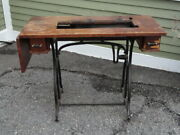 Early Wheeler And Wilson Treadle Sewing Machine Base W/ Top 2 Leafs And Drawers
