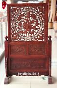 Chinese Camphorwood Peony Flower Blessing Wood Folding Table Screen Table Plaque