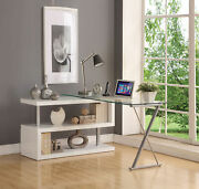 Acme Furniture Buck - Desk White High Gloss And Clear Glass