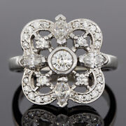 Kwiat White Gold 1.01ct Round Diamond Clover Shaped Bezel Ring Msrp 5050