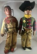 21 Antique American Composition Tonto And The Lone Ranger Doll Rare 18007