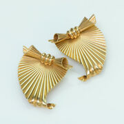 Vintage And Co. By George Schuler 14k Yellow Gold Fluted Clips