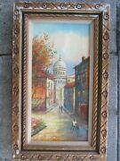 Oil Painting On Canvas Signed By Blish Framed 19.25x31.25